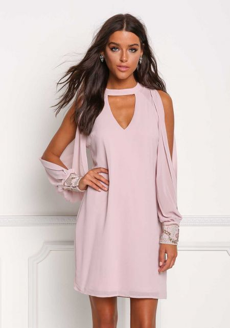 Mauve Slit Beaded Sleeve Cut Out Shift Dress