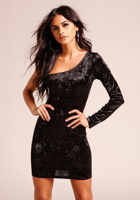 Black Crushed Velvet One Shoulder Bodycon Dress