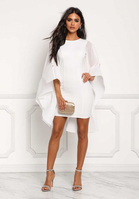 White Voluminous Bell Sleeve Low Back Bodycon Dres