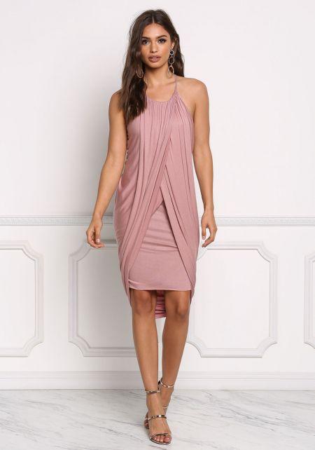 Mauve Jersey Knit Draped & Layered Dress
