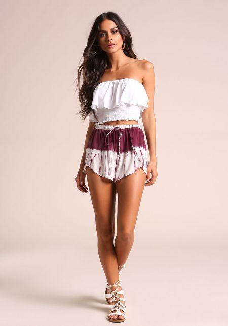 Wine Tie Dye Layered Shorts