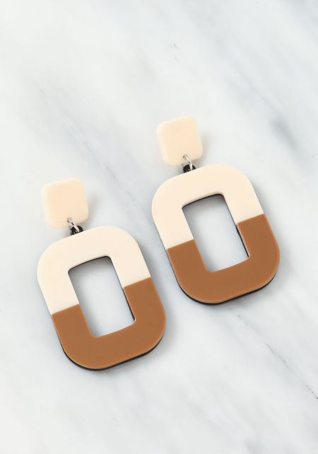 Beige Two Tone Cut Out Earrings