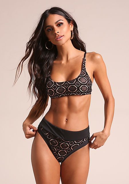 Black & Nude Crochet High Rise Swimsuit Bikini Bot