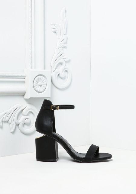 Black Leatherette Short Stacked Heels