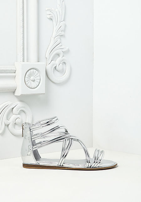 Silver Multi Cross Strap Sandals