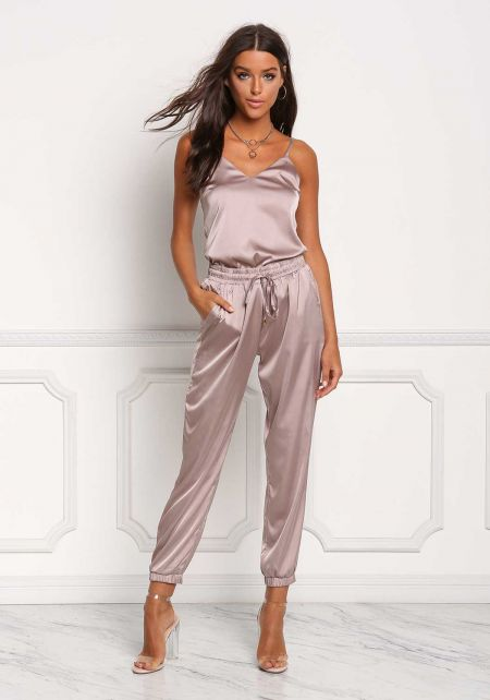 Champagne Silky Drawstring High Rise Jogger Pants