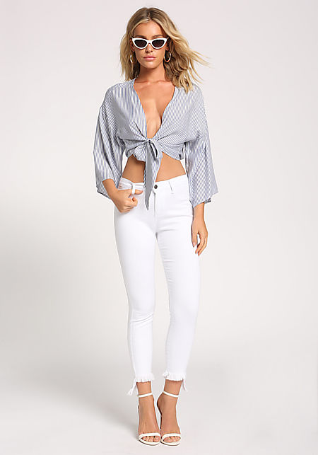 White Frayed Skinny Jeans