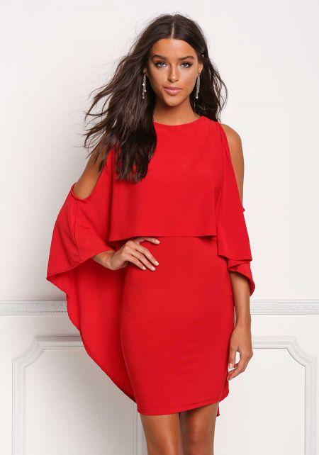 Red Layered Hi-Lo Cold Shoulder Dress