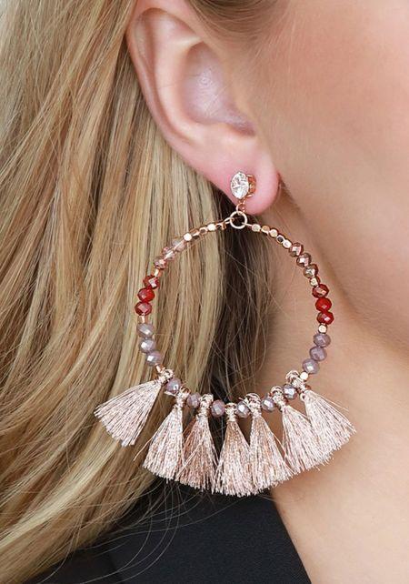 Rose Gold Beaded Mini Tassel Earrings