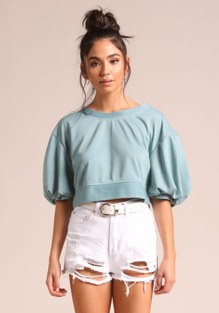 Dusty Sage Puff Sleeve Crop Top