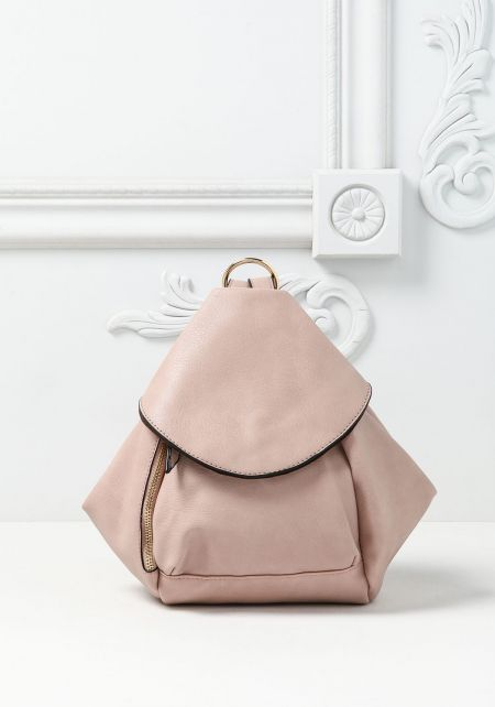 Pink Leatherette Pouch Backpack
