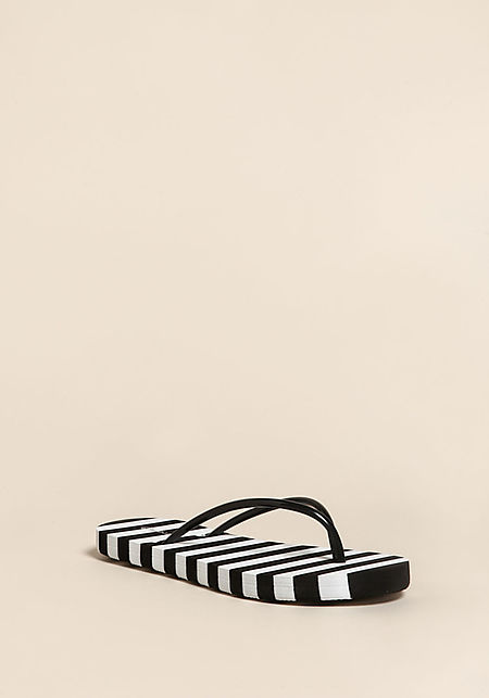 Black Stripe Thong Sandals