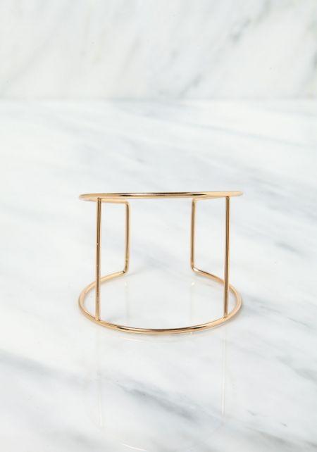 Gold Thin Cut Out Cuff Bracelet