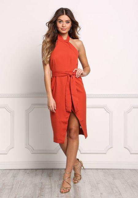 Rust Halter Faux Wrap High Slit Cinched Dress