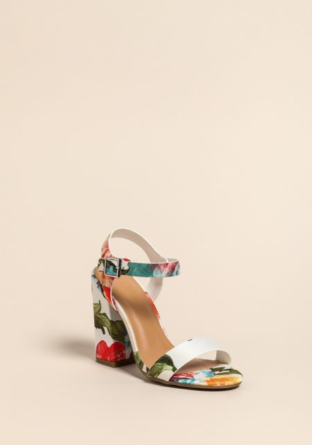 White Floral Ankle Strap Heels
