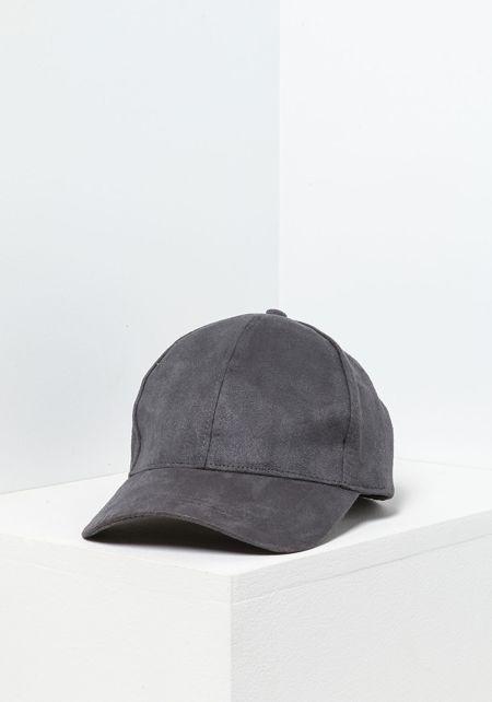 Dark Grey Suedette Baseball Cap