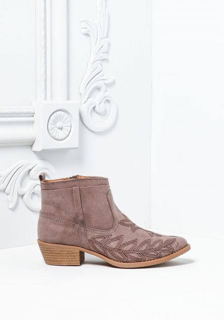 Taupe Suedette Leaf Stitched Booties