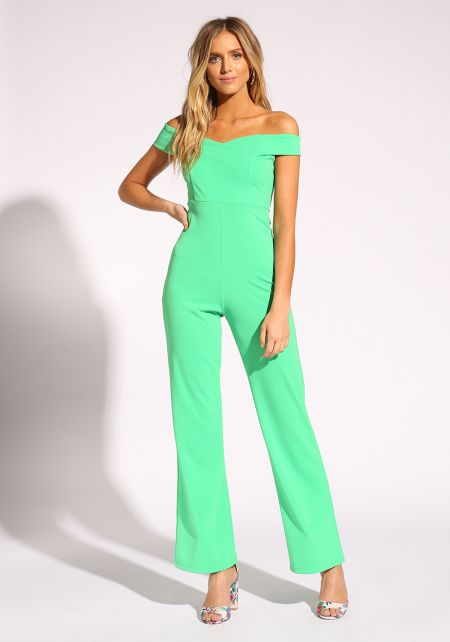 Green Off Shoulder Wide Legged Jumpsuit