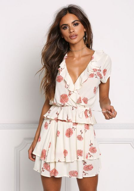 Cream Floral Ruffled Cinched Blouse