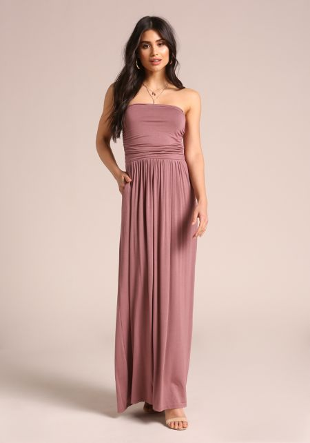 Mauve Strapless Ruched Pocket Maxi Dress