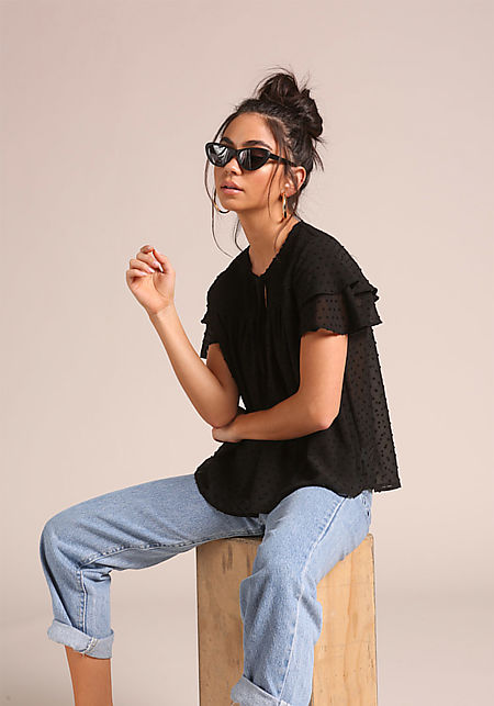 Black Smocked Tiered Sleeve Blouse