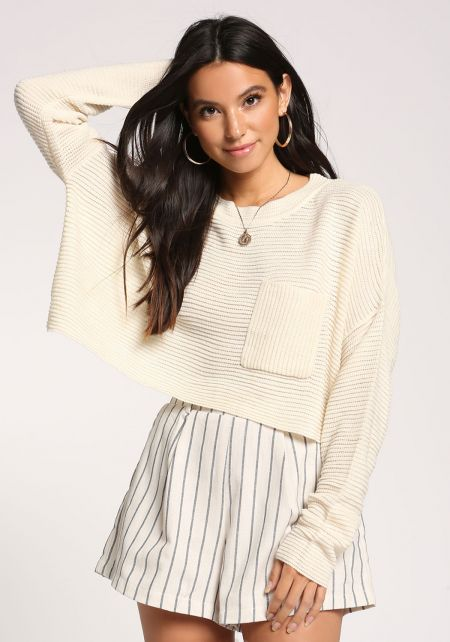 Cream Pocket Cropped Sweater Top