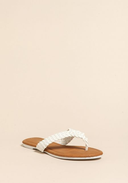 White Braided Leatherette Thong Sandals