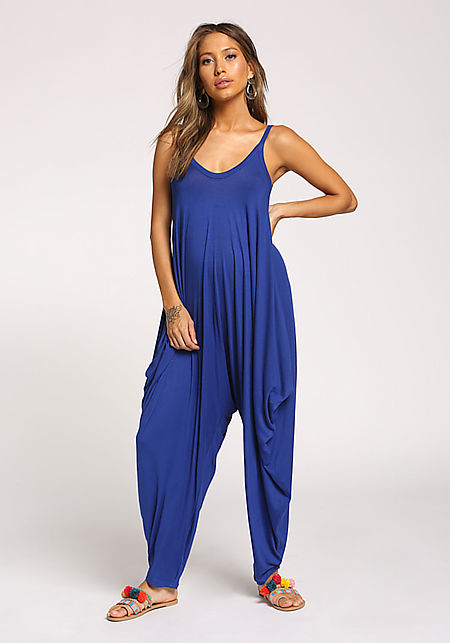 Royal Blue Harem Jersey Knit Jumpsuit