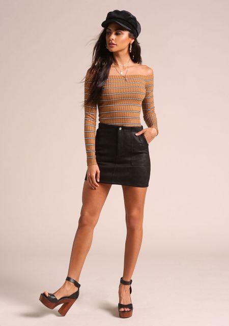 Black Suedette Mini Skirt