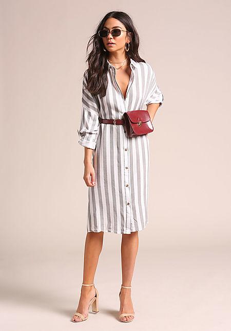 Grey Pinstripe Collared T-Shirt Shift Dress