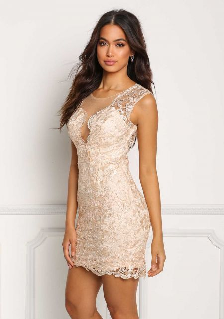 Champagne Tulle Rhinestone Embroidered Dress