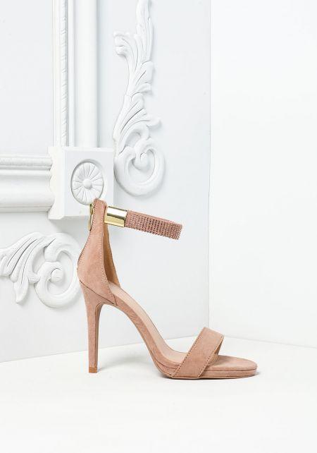 Taupe Rhinestone Ankle Strap Heels