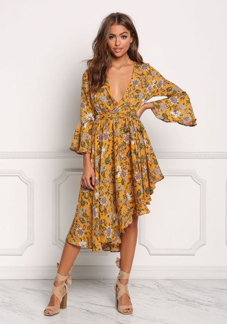 Mustard Plunge Floral Asymmetrical Faux Wrap Dress