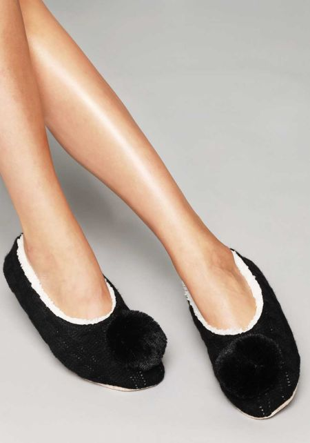 Black Cable Knit Pom Pom Sock Slippers
