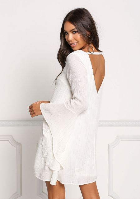 Ivory Pinstripe Shimmer Bell Sleeve Dress