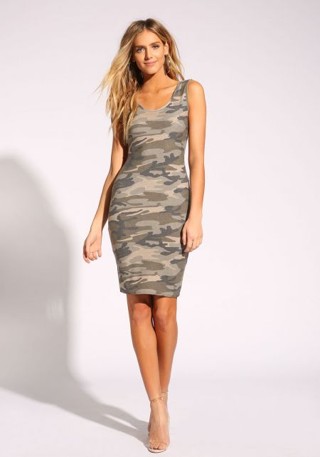 Camouflage Tank Bodycon Dress