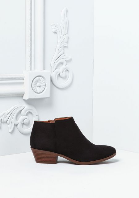 Black Suedette Ankle Booties