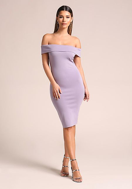Lavender Off Shoulder Bodycon Dress
