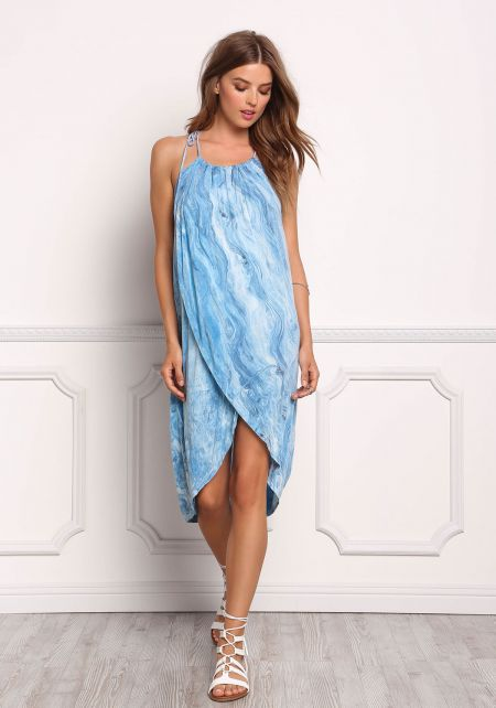 Blue Swirl Print Faux Wrap Tank Dress