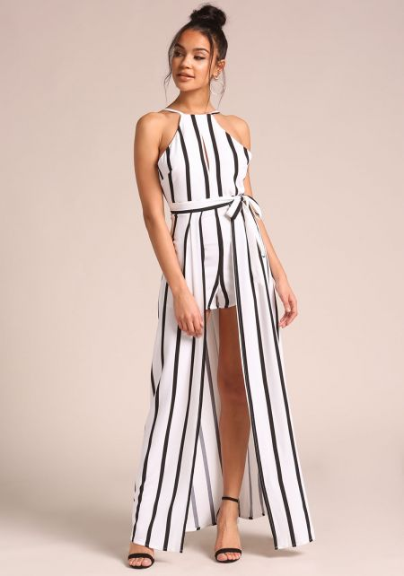 Ivory Pinstripe Overlay Maxi Romper
