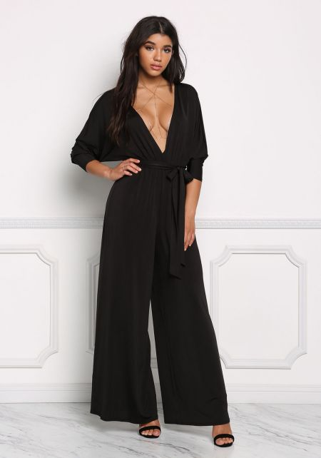 Black Plunge Wide Legged Jumpsuit