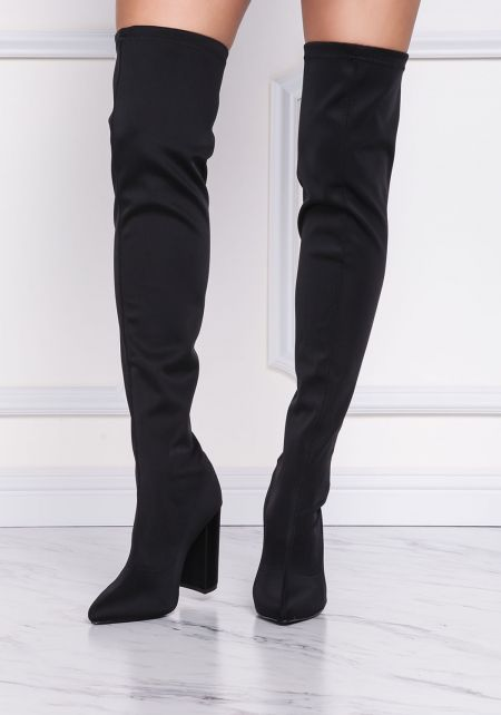 Black Over The Knee Pointed Toe Boots