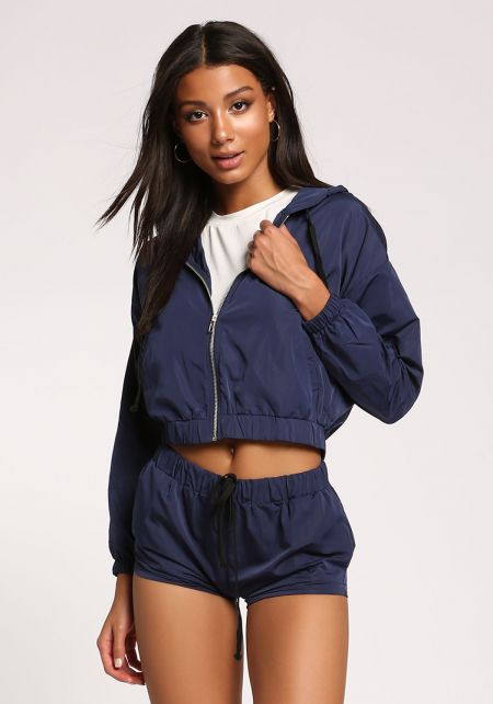 Navy Hooded Windbreaker Jacket
