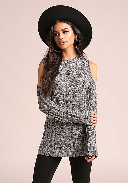 Grey Marled Cable Knit Sweater Top