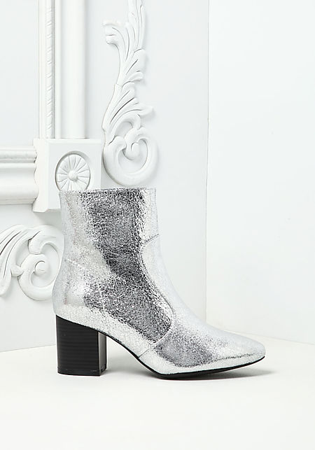 Silver Metallic Foil Leatherette Pointed Booties