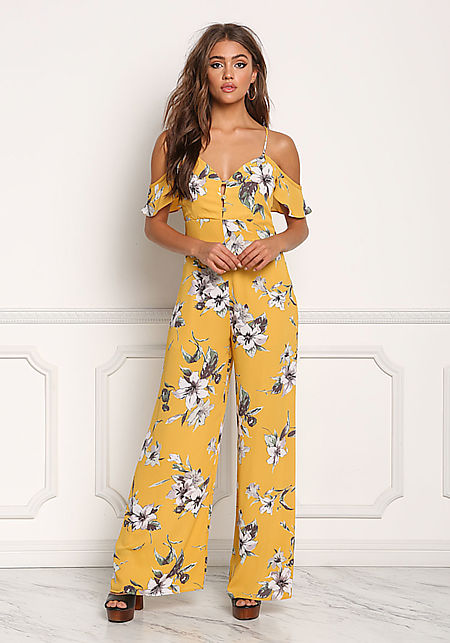Mustard Floral Cold Shoulder Cross Strap Jumpsuit