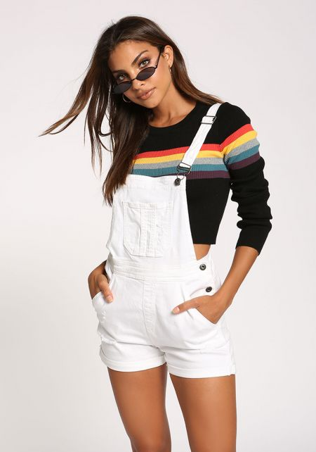 White Distressed Side Button Overalls