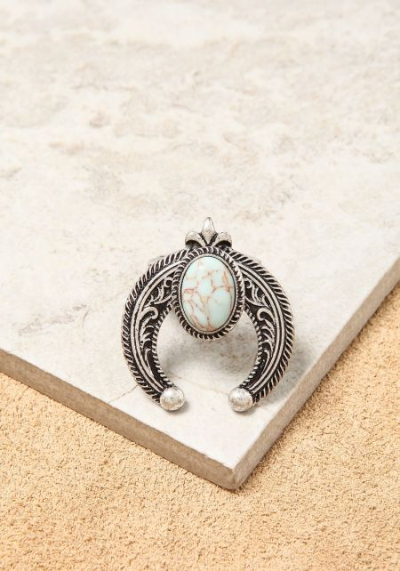 Turquoise Curved Pendant Ring