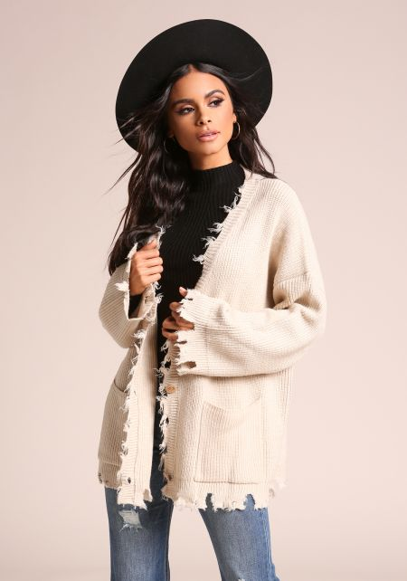 Cream Frayed Thick Ribbed Knit Cardigan