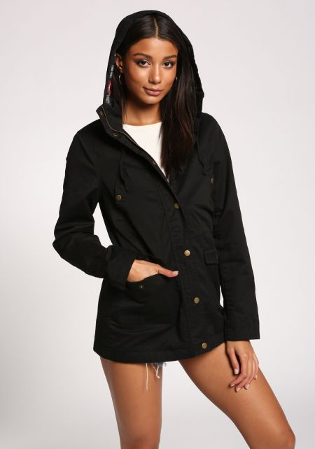 Black Plaid Hooded Utility Jacket